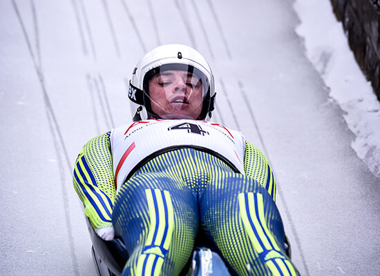 Gdsm Ray Thompson 1IG taking part in the Luge event.