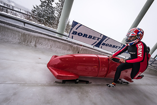 Capt Jo Ellet and Dom Burge taking part in the Bobsleigh